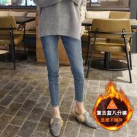 牛仔裤女2018春秋新款韩版显瘦高腰九分裤紧身弹力加厚加绒小脚裤