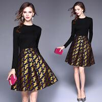 欧美女装秋装新款女小香风气质长袖提花收腰女裙连衣裙礼服裙