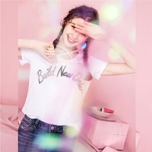 【秒杀价59元】纯色短款T恤女2018春夏新款韩版学生ins字母刺绣v领短袖上衣潮20011967