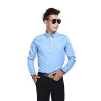 纯色修身男士衬衫商务衬衫长袖衬衫免烫打底衬衣青年衬衫