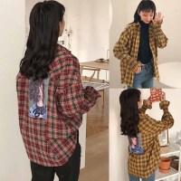 200斤胖mm加肥加大码春季韩版bf原宿风印花格子宽松学生衬衫外套