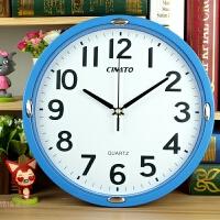 钟表简约挂钟客厅挂表壁种卡通时钟时尚现代石英钟 蓝色 30cm