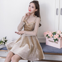 2018新款春季套装裙两件套小香风性感透视高腰金丝绒吊带连衣裙