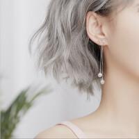 两戴耳环银耳坠女长款气质韩国简约百搭个性耳钉潮人 二合一蝴蝶结耳饰(耳环+耳钉)