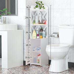 门扉 浴室置物架 欧式白色卫生间储物收纳架简约雕花居家墙角柜