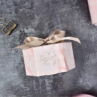 大理石纹喜糖盒纸盒 欧式婚礼个性创意 ins风 粉色烫金喜糖盒子,空盒 下单三天后发货