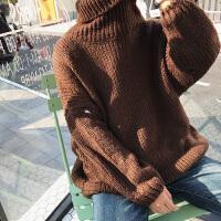 秋冬装男女韩版中长款高领毛衣情侣加厚针织衫宽松套头打底衫外套