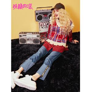 【限时清仓价:96】妖精的口袋秋装新款不规则红色短款格纹学院风背心毛衣女