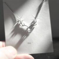 一鹿有你项链带刻字S925银一路鹿有你项链女锁骨链韩版简约个性学生非纯银气质送女友 璀璨银项链(S925银打造