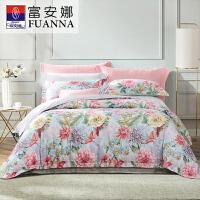 富安娜家纺 床上用品四件套 明媚印花床单被套 40S纯棉斜纹 四季狂想