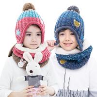 【3件85折:57.8】KK树新款宝宝帽子围脖两件套冬女童帽子围巾套装护耳帽子保暖时尚