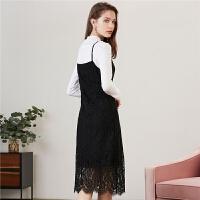 【到手价 216元】【每满100减60】蕾丝吊带裙子女士拉夏贝尔新款a字裙韩版两件套连衣裙