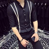 七分袖衬衫男夏季韩版薄款立领假两件修身五分袖衬衣男大码寸衫男