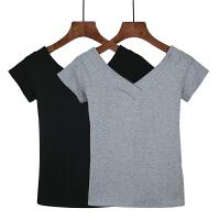大v领t恤女夏前后双V露背紧身短袖打底衫修身纯白色体恤半袖上衣