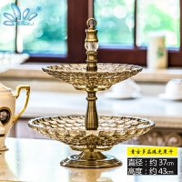 玻璃水果盘奢华欧式水晶家用现代客厅茶几果盘双层糖果盘创意摆件