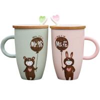 创意礼品马克杯定制情侣杯子陶瓷杯创意水杯一对卡通咖啡杯带盖结婚刻字