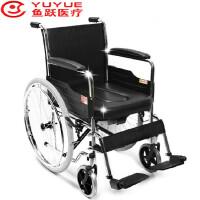 鱼跃轮椅车H005B带坐便器 电镀软座带餐桌板和座便 方便实用 手动轮椅坐便椅式可折叠软座 安全可靠 操作简单