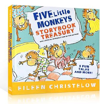 英文原版书绘本 Five Little Monkeys 五只猴子5个故事精装合集 廖彩杏书单畅销4-8岁英语 jumping on the bed