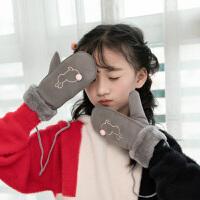 儿童手套 女童加绒加厚保暖可爱卡通兔子小孩连指手套冬季新款韩版儿童时尚休闲舒适服配
