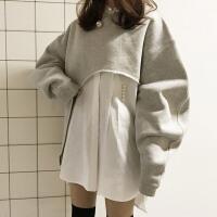 学院风时尚韩版女装秋冬季不规则套头卫衣+珍珠扣中长款衬衫套装
