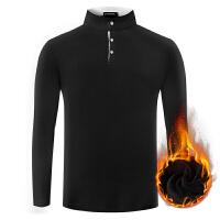 男士保暖长袖t恤打底小衫有带领子内搭上衣外穿加绒加厚带绒