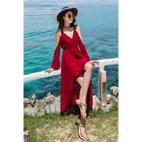 夏季新款海边度假V领性感沙滩裙显瘦吊带雪纺长裙开叉露肩连衣裙 酒红色