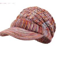 时尚韩版潮彩色毛线帽冬天的帽子女士秋冬短帽沿针织帽
