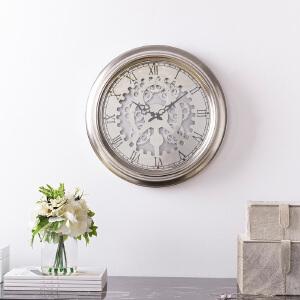 奇居良品 现代客厅卧室办公室 莎琳金属铁艺齿轮墙面装饰挂钟
