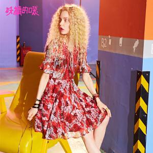 妖精的口袋新款镂空荷叶边蕾丝chic雪纺裙子女