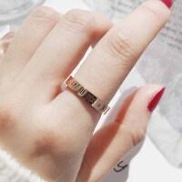 日韩食指钛钢戒指女玫瑰金潮人网红简约个性大气时尚指环