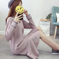 2018孕妇装秋冬装新款孕妇连衣裙毛衣中长款V领时尚针织衫打底衫