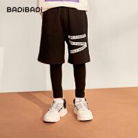 【2件3折:56】巴拉巴拉旗下巴帝巴帝童装男童假两件运动裤2019秋装新款儿童卫裤中大童