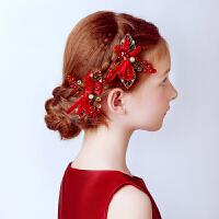 儿童发饰 女童红色头饰发夹儿童头花演出发饰儿童礼服配饰 红色