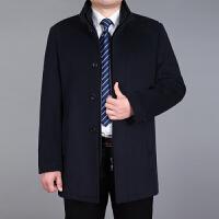 中年夹克男士立领爸爸装秋羊毛呢大衣中老年人中长款毛呢外套男
