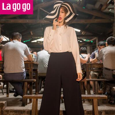 Lagogo2017年秋季新款纯色休闲裤女裤子藏青色高腰九分裤阔腿裤