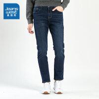 [限时抢:70元,真维斯周末狂欢仅限10.12-14]真维斯男装 冬装新款 弹力雨纹基本牛仔长裤