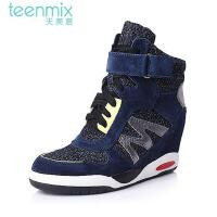 Teenmix/天美意专柜同款/兰黑/银灰色二层牛皮女靴6WI60DZ5