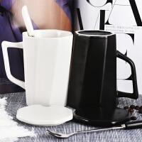 韩版女学生杯子陶瓷马克杯带盖勺创意牛奶咖啡家用喝水杯情侣一对