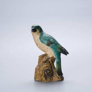 创汇期瓷塑鹦鹉摆件