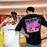 情侣装夏装半袖T恤2018新款韩版个性印花男女生宽松五分袖体恤潮
