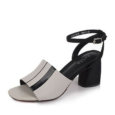BASTO/百思图2017新款夏季/黑色羊皮一字带女凉鞋72321BL7