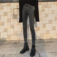 Lee Cooper春夏新款减龄百搭舒适高腰牛仔裤女韩版修身小脚牛仔裤女