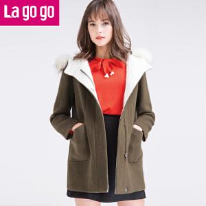 lagogo/拉谷谷冬季新款时尚纯色连帽毛呢大衣F