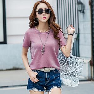 SOOSSN 2018夏季新款条纹t恤女式短袖圆领彩色条纹短袖t恤上衣女士t恤 88882