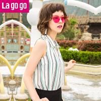 【3折价72】Lagogo2017新款条纹印花无袖衬衫女夏雪纺修身短款显瘦上衣