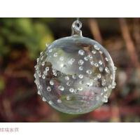 圣诞节装饰品 圣诞树挂件 透明玻璃麻点吊球 节日挂件 婚庆道具