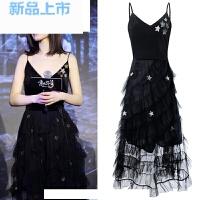 宴会晚礼服女长款2018黑色高贵优雅性感年会小礼服吊带蓬蓬连衣裙