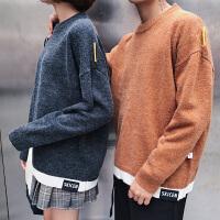 新款2018秋冬港风情侣毛衣男装宽松大码毛衣男女学生保暖线衫