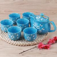 汉馨堂 茶具套装 陶瓷日式茶具套装雪花瓷手绘复古茶壶杯子
