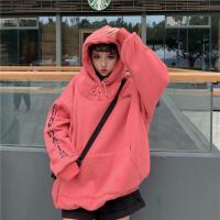 慈姑冬装女装韩版中长款原宿风字母宽松加绒加厚连帽卫衣上衣外套 暗红色